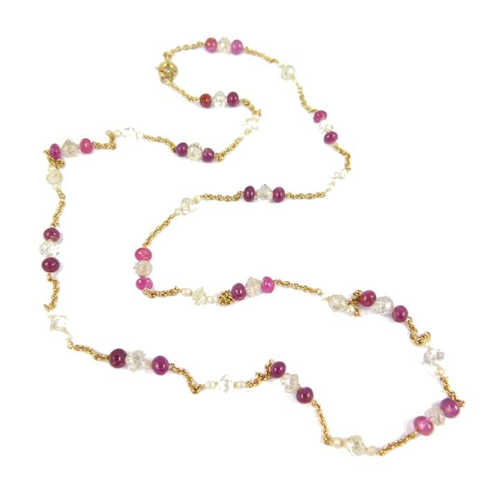 Diamond and ruby bead and pearl gold chain necklace,