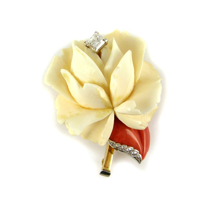 Diamond set carved stone flower brooch modelled as a white rose