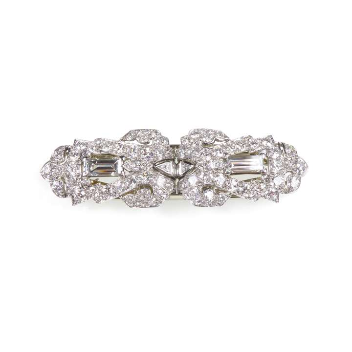 Diamond set geometric double clip brooch