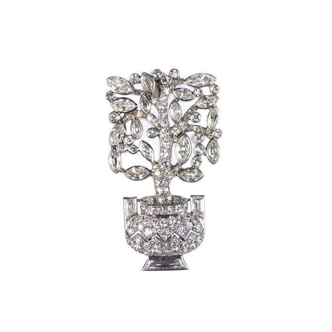 Cartier - Diamond set jardiniere tree brooch of geometric design | MasterArt