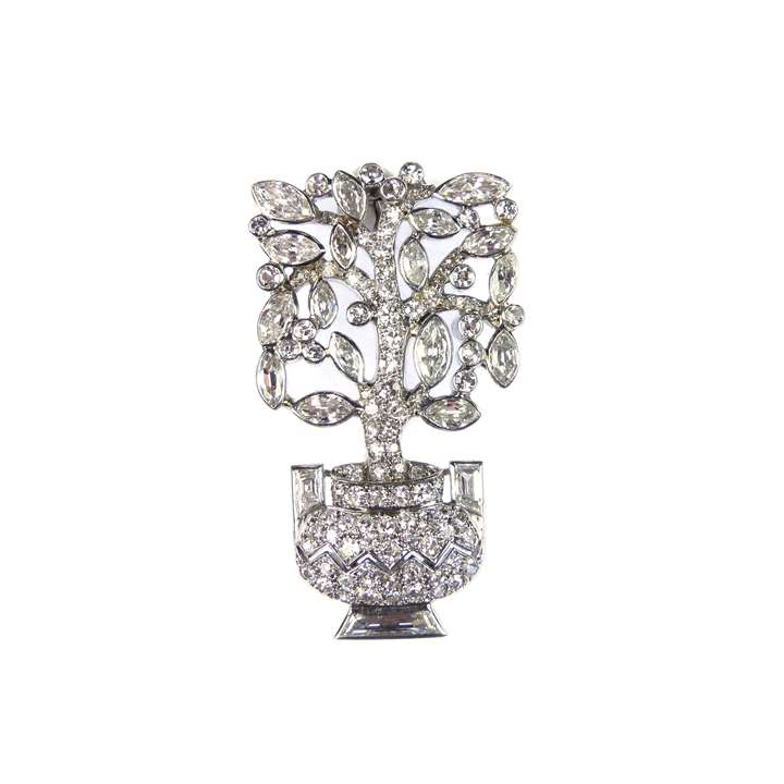 Diamond set jardiniere tree brooch of geometric design