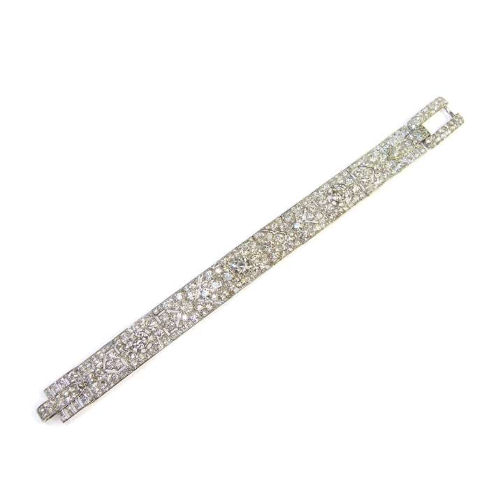 Diamond set pierced strap bracelet