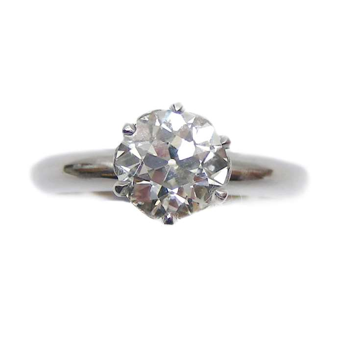 Diamond single stone ring, claw set with a 1.56ct round brilliant cut diamond