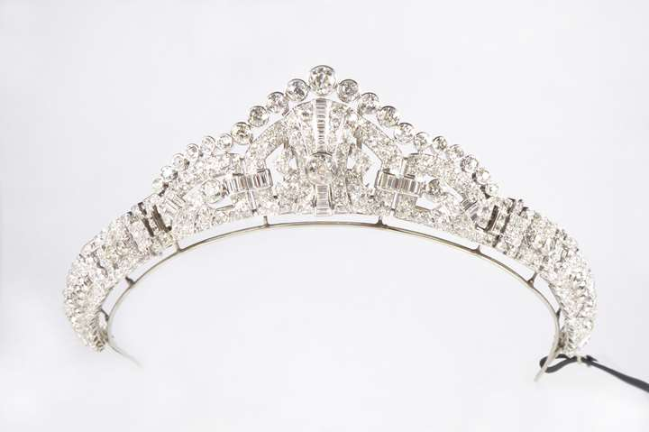 Diamond tiara of geometric design, converting to form clip brooches and bracelet