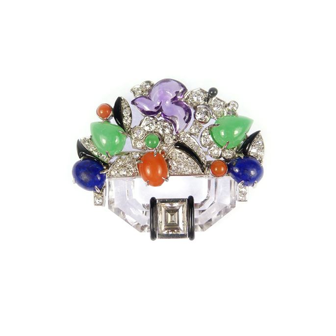 Diamond, crystal, amethyst and gem set clip brooch designed as a stylised basket of flowers | MasterArt