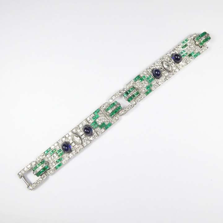 Diamond, emerald and cabochon sapphire strap bracelet