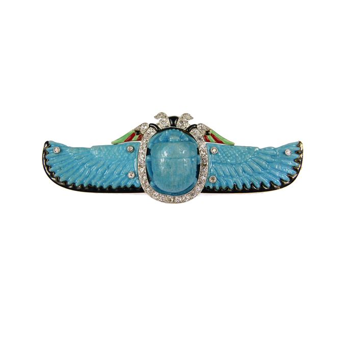 Diamond, enamel and faience winged scarab brooch | MasterArt
