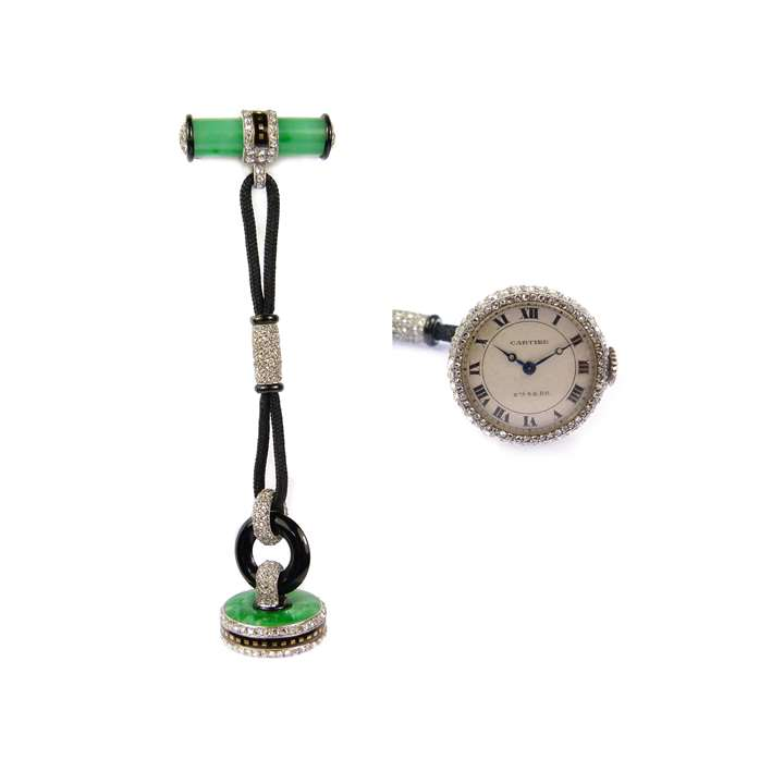 Diamond, jade and enamel lapel watch