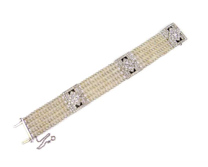 Diamond, onyx and pearl strap bracelet