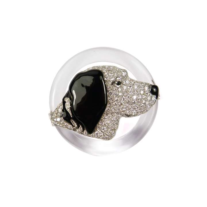 Diamond, rock crystal and black enamel dog's head brooch