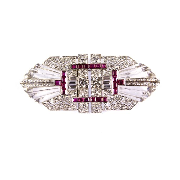 Diamond, ruby and carved rock crystal double clip brooch | MasterArt