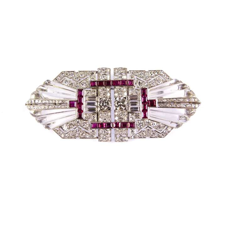 Diamond, ruby and carved rock crystal double clip brooch
