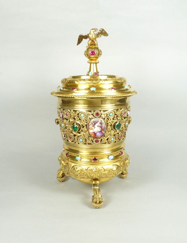 Early 18th century German silver gilt cup and cover set with jewels and enamels by Lorenz Biller II | MasterArt