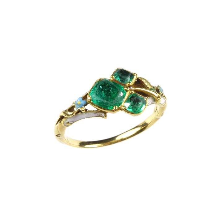 Early 18th century emerald and enamel flower ring