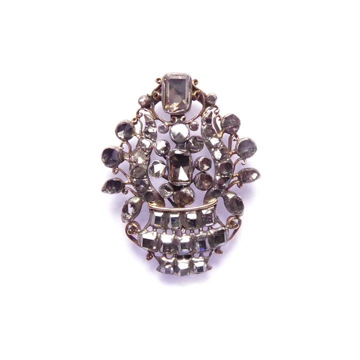 Early 18th century table cut diamond vase cluster brooch