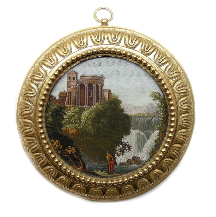 Early 19th century Italian round micromosaic plaque depicting the Temple of Vesta at Tivoli
