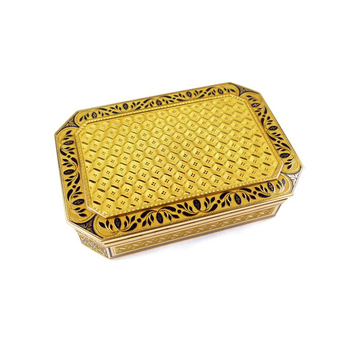 Cut-corner rectangular gold and blue enamel box | MasterArt