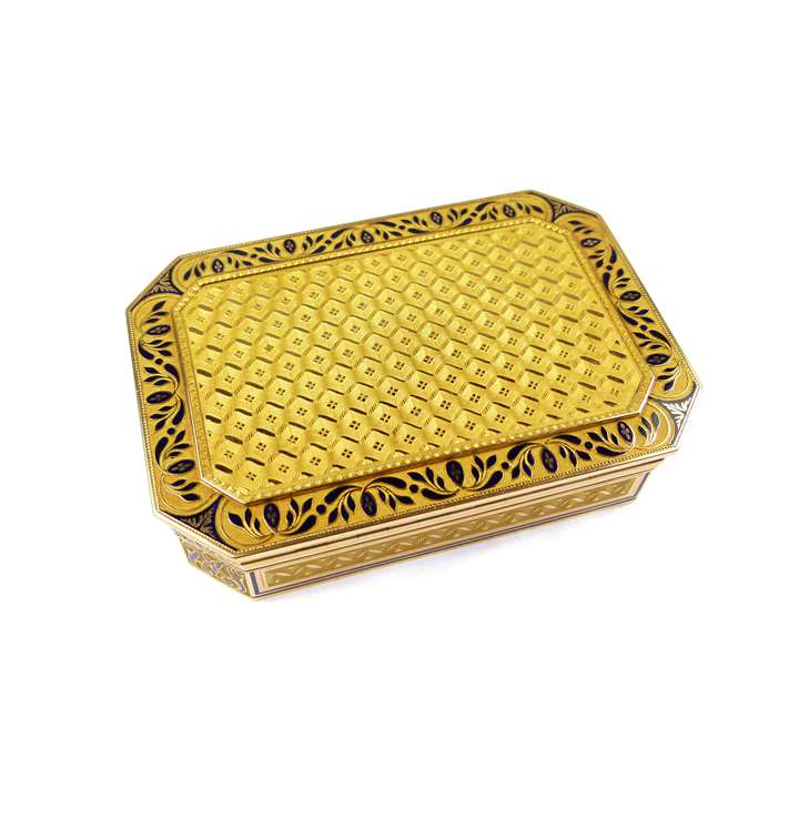 Cut-corner rectangular gold and blue enamel box