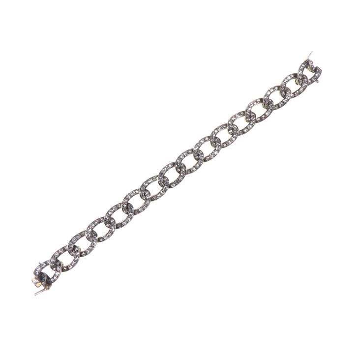 Early 19th century diamond oval link bracelet, now 49536