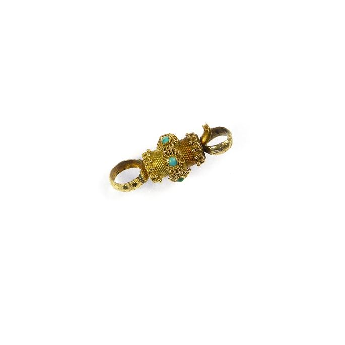 Early 19th century gold and turquoise barrel clasp, with fittings for a single row | MasterArt