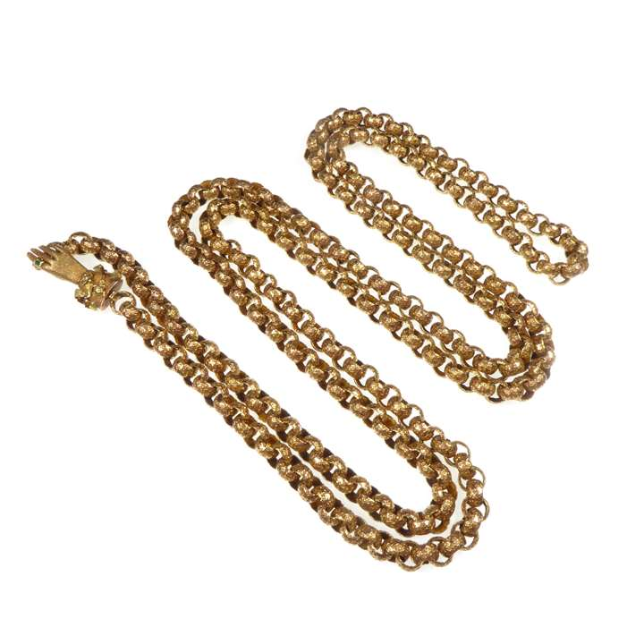Gold muff chain with hand clasp