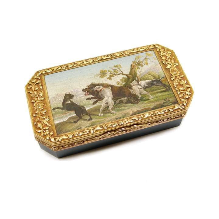 Early 19th century micromosaic and gold mounted bloodstone box