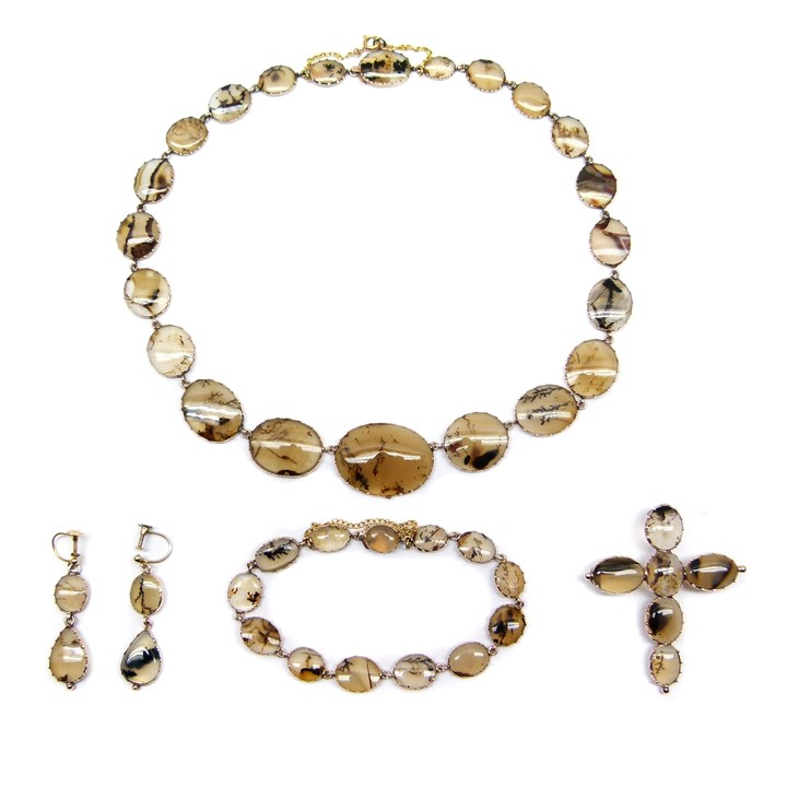 Early 19th century moss agate and gold suite, comprising a necklace, pair of earrings, bracelet and a cross pendant-brooch