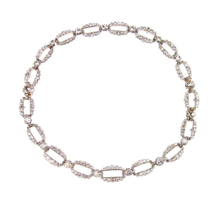 Early 19th century oval link diamond necklace forming a pair of bracelets