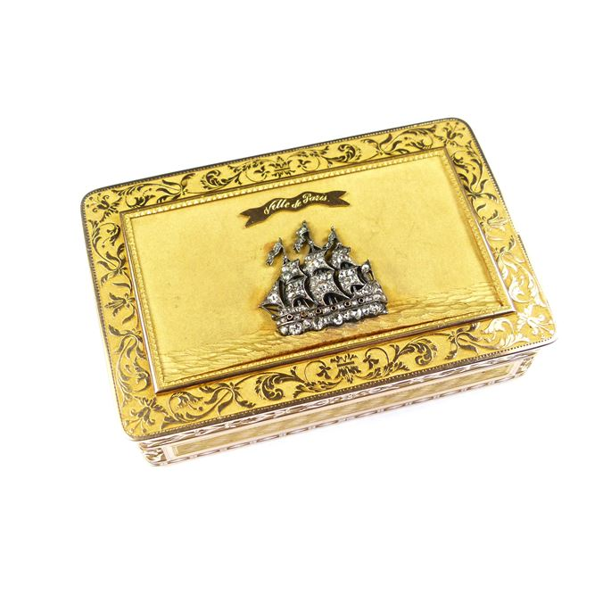 Early 19th century rectangular gold box with diamond ship motif | MasterArt