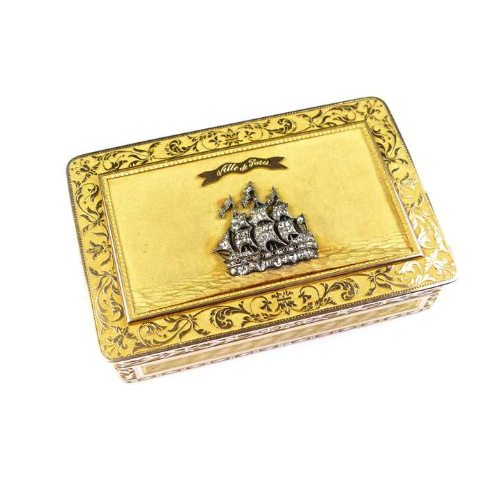 Early 19th century rectangular gold box with diamond ship motif