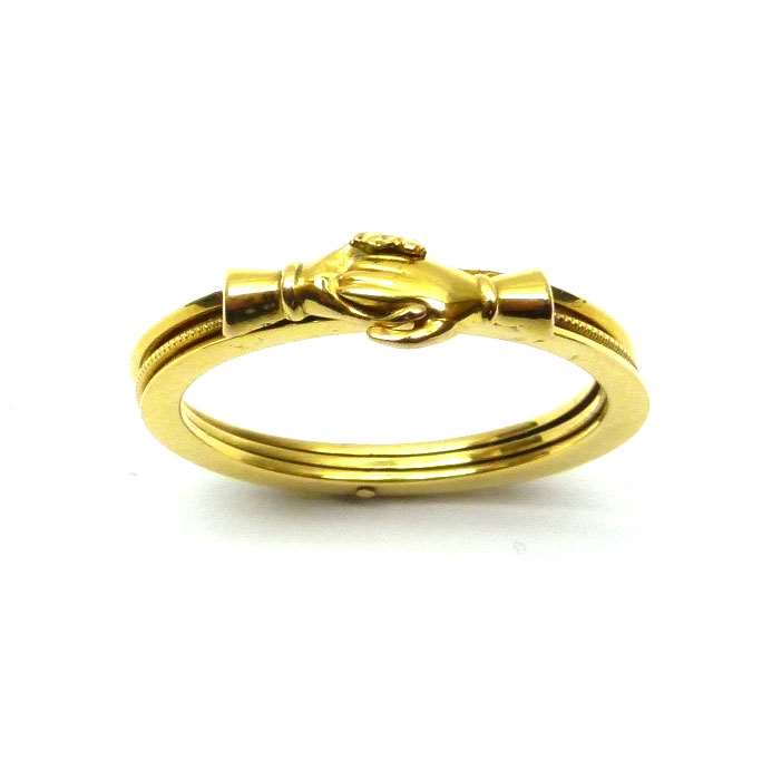 Early 19th. century gold gimmel/ fede ring