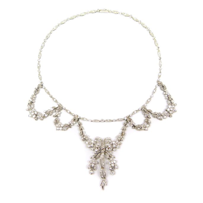 Early 20th centrury diamond garland swag necklace | MasterArt