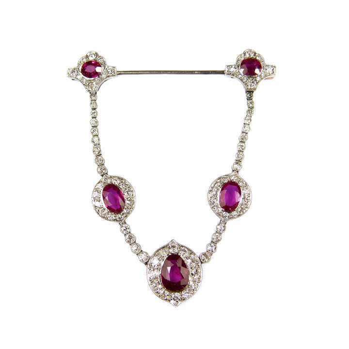 Burma ruby and diamond cluster swag pendant brooch