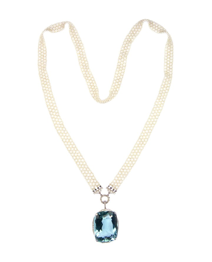 Early 20th century aquamarine, seed pearl and diamond sautoir necklace