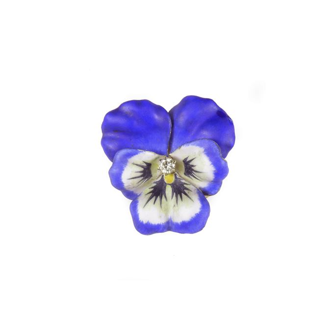 Early 20th century blue and white enamel, diamond and 14ct gold pansy brooch | MasterArt