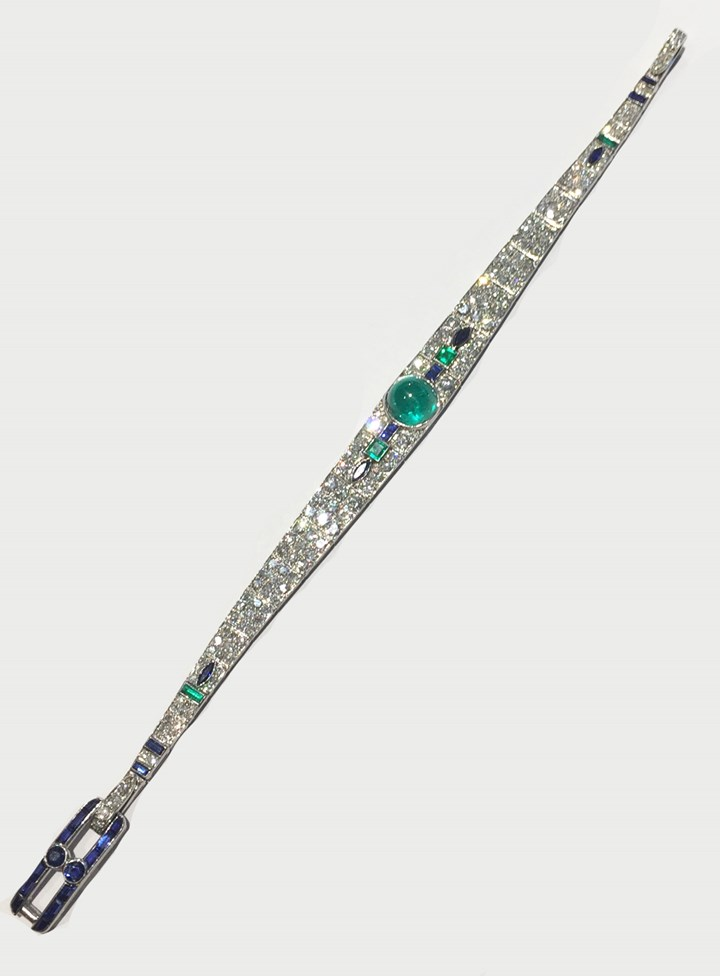 Early 20th century cabochon emerald, diamond and sapphire bracelet