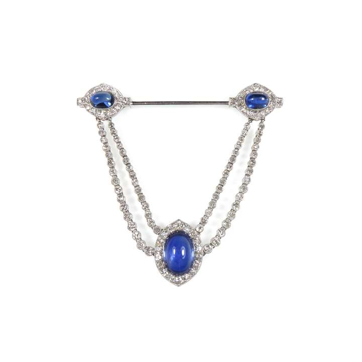 Early 20th century cabochon sapphire and diamond cluster swag jabot pendant brooch
