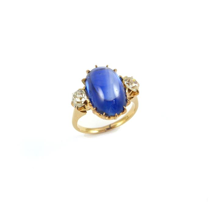 Tiffany - Early 20th century cabochon sapphire and diamond three stone ring | MasterArt