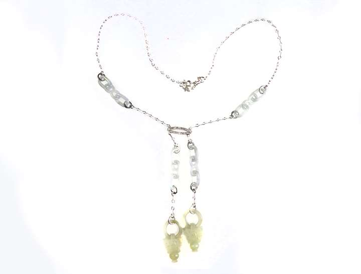 Early 20th century celadon jade, white enamel and diamond necklace