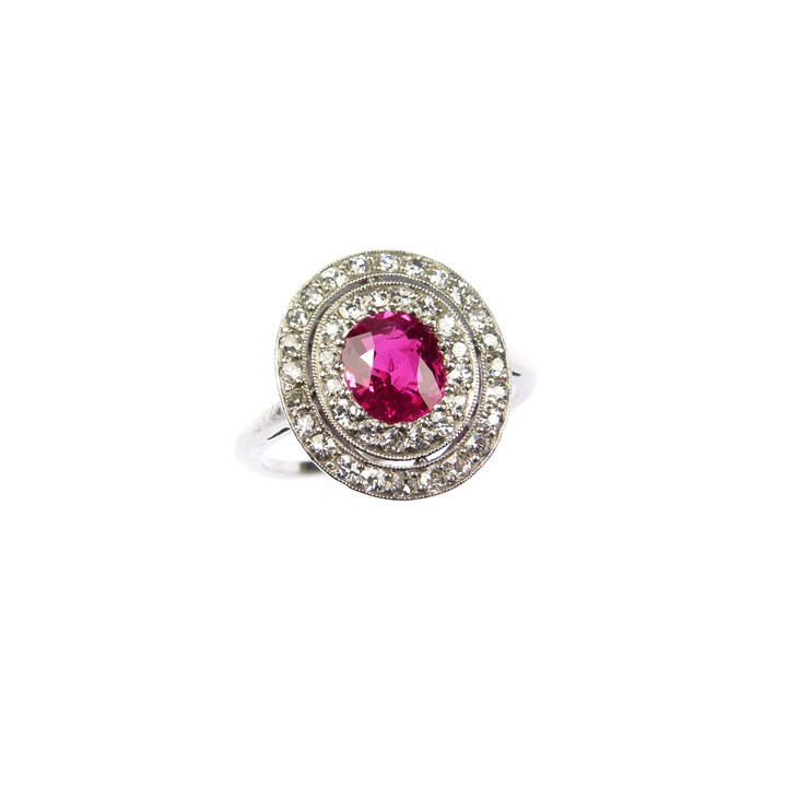 Early 20th century cushion cut Burma ruby and diamond oval cluster ring