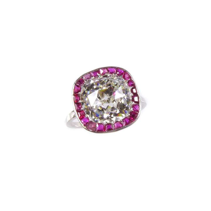 Cushion cut diamond and ruby cluster ring, set with a 4.83ct cushion