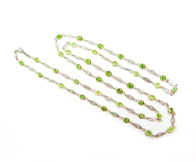Demantoid garnet and diamond spectacle set chain necklace | MasterArt