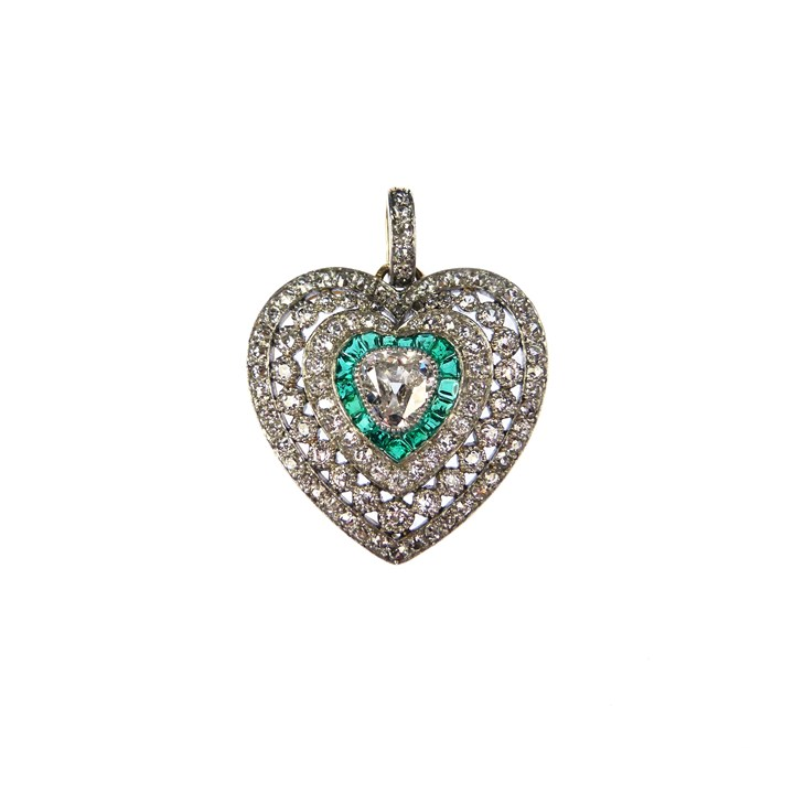 Early 20th century diamond and emerald cluster heart pendant