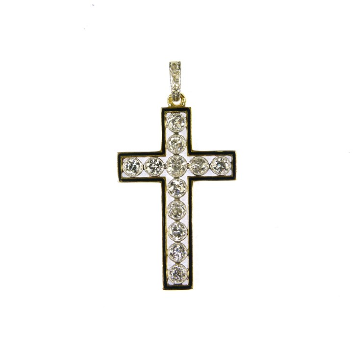 Early 20th century diamond and enamel cross pendant