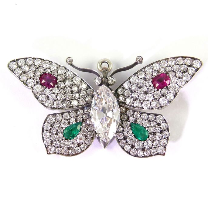 Early 20th century diamond and gem set butterfly brooch | MasterArt