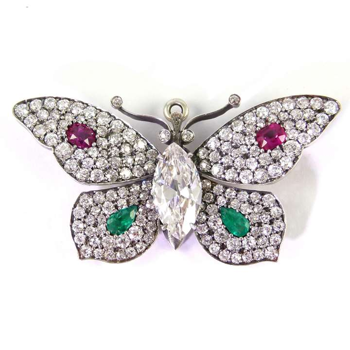 Early 20th century diamond and gem set butterfly brooch