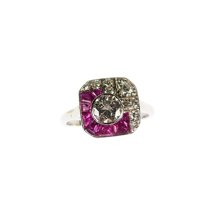 Early 20th century diamond and ruby cluster ring of square outline