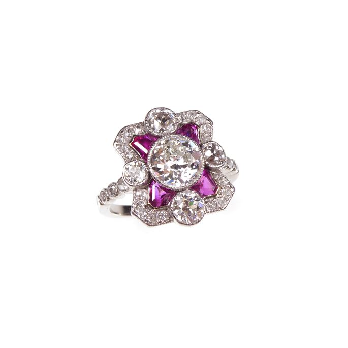 Early 20th century diamond and ruby cluster ring | MasterArt