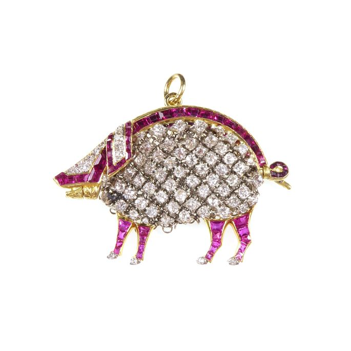 Early 20th century diamond and ruby pendant in the form of a pig with integral mesh purse | MasterArt