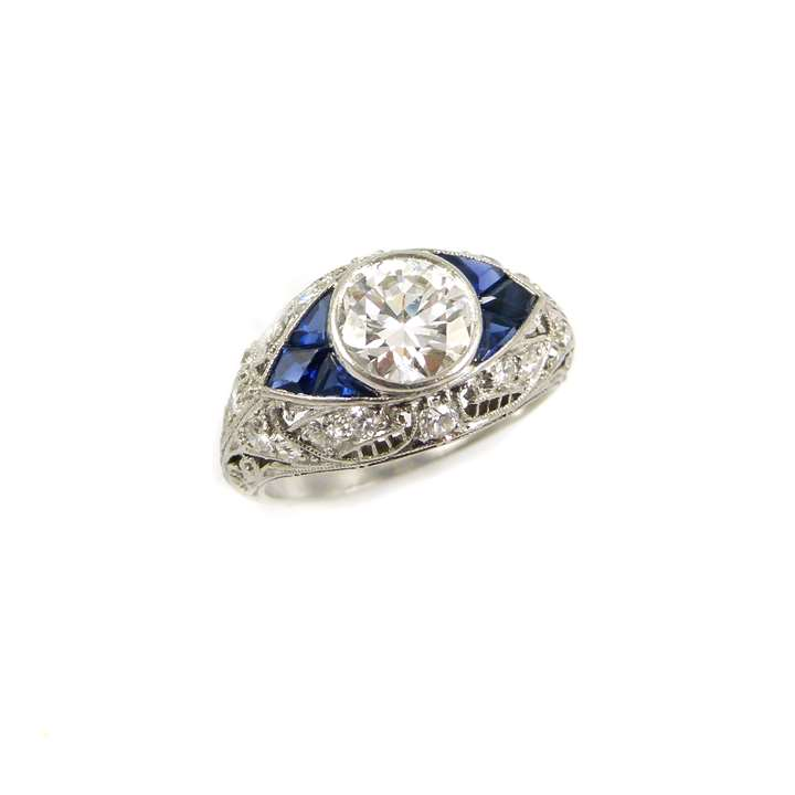 Early 20th century diamond and sapphire boat shaped cluster ring
